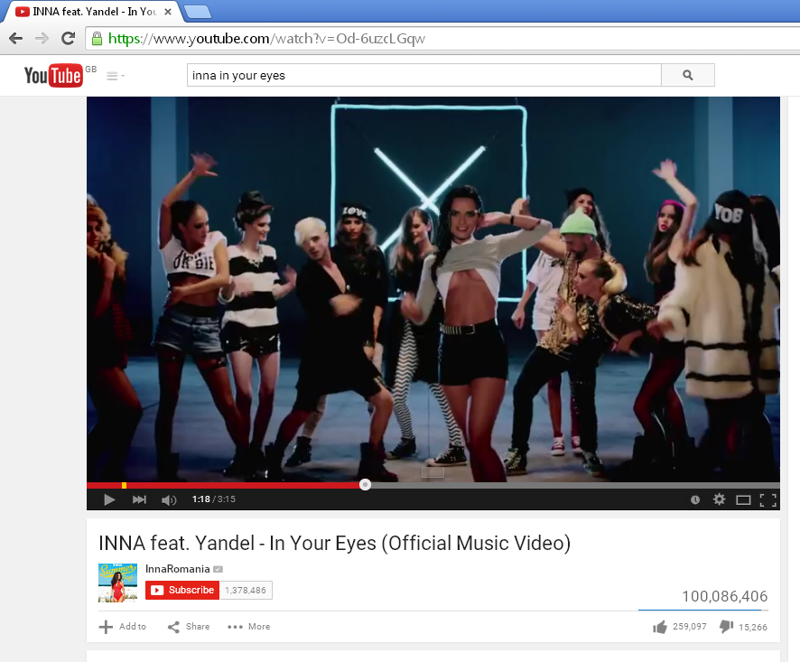 In Your Eyes by @inna_ro & @yandeloficial has surpassed 100 million views. Let's party !!! :) https://t.co/pk60DIOQ9z http://t.co/L770hbOG8d