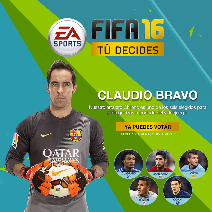 "𝗭𝗠𝗔𝗥𝗧.𝗖𝗟 on Twitter: ""Claudio Bravo compite por ser la portada de FIFA 16 ¡Apoyemos en http://t.co/gK41KlKz82! :D http://t.co/vwA6goKMdn"""