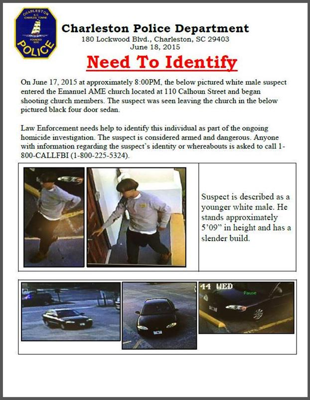 Active manhunt underway to locate #Charleston shooting subject. Please review photos & report tips to 1-800-CALL-FBI. http://t.co/F60TxFs4NC
