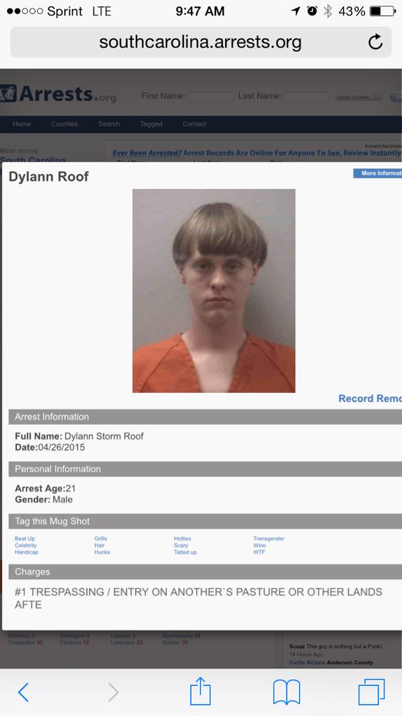 If you google the terrorist's name, a less friendly mug shot comes up. This should be shown. #CharlestonShooting http://t.co/hEpMaylo66