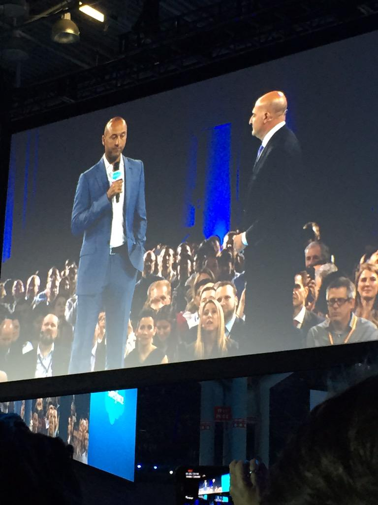 """Soo Derek Jeter showed up. They played """"all I do is win"""" as his walk in song. #salesforceLIVE #CNX15 @TF_Derek_Jeter"""
