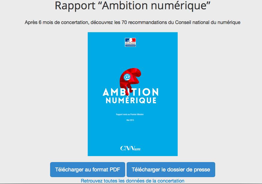 Pour télécharger le rapport #AmbitionNumérique qui a été remis @manuelvalls @gouvernementFR > http://t.co/z05KQIFKOA http://t.co/XzrepVYOhE