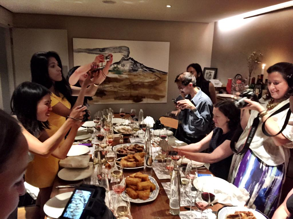 typical sight at a blogger dinner @SquareMeal @portland113 #loirevalleywines http://t.co/AikbCOZCiK
