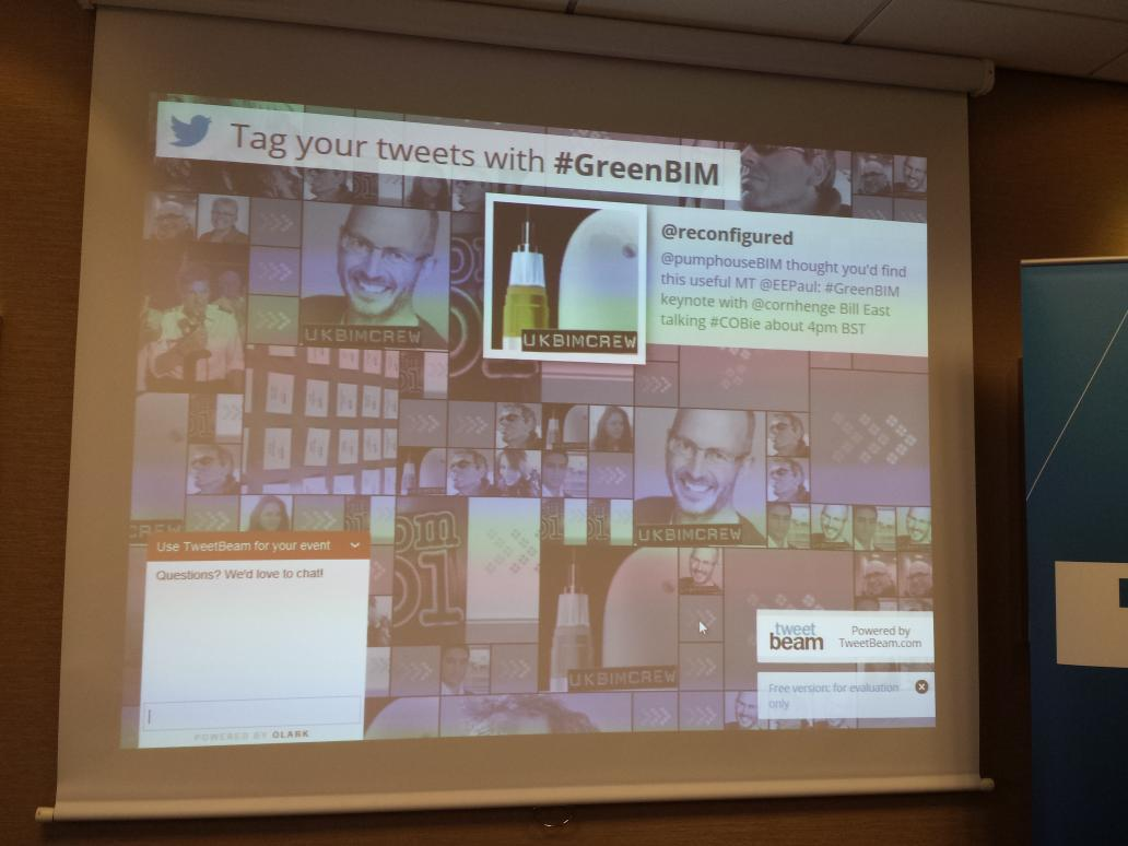Using a tweet beam twitter wall at #GreenBIM http://t.co/DrAfB4EmYo