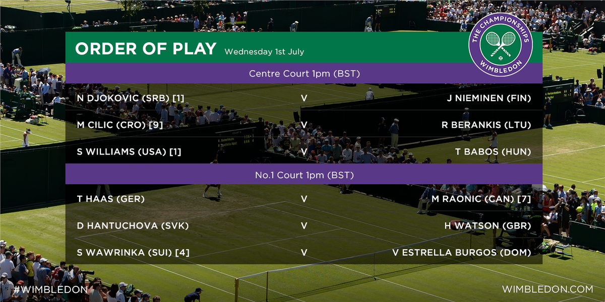 wimbledon on twitter a look at the updated order of play. Black Bedroom Furniture Sets. Home Design Ideas