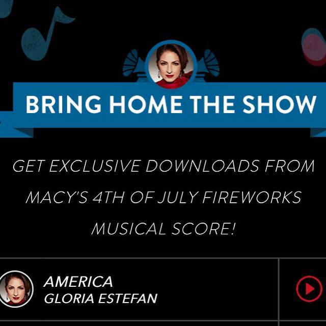 Get ur exclusive download of Gloria's song #America from @Macys #July4th firework celebration! http://t.co/law5333Lak http://t.co/Np7dSfShdm