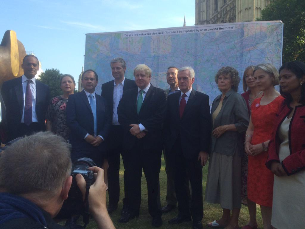 At College Green with MPs who are opposed to Heathrow expansion in response to findings of Davies Report http://t.co/RvjB0DI8j7