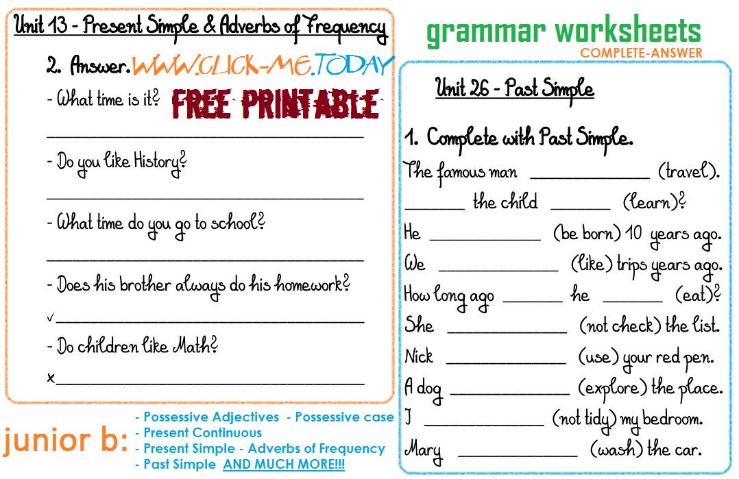 Free Worksheets Free Printable Grammar Worksheets Free – Grammar Worksheets