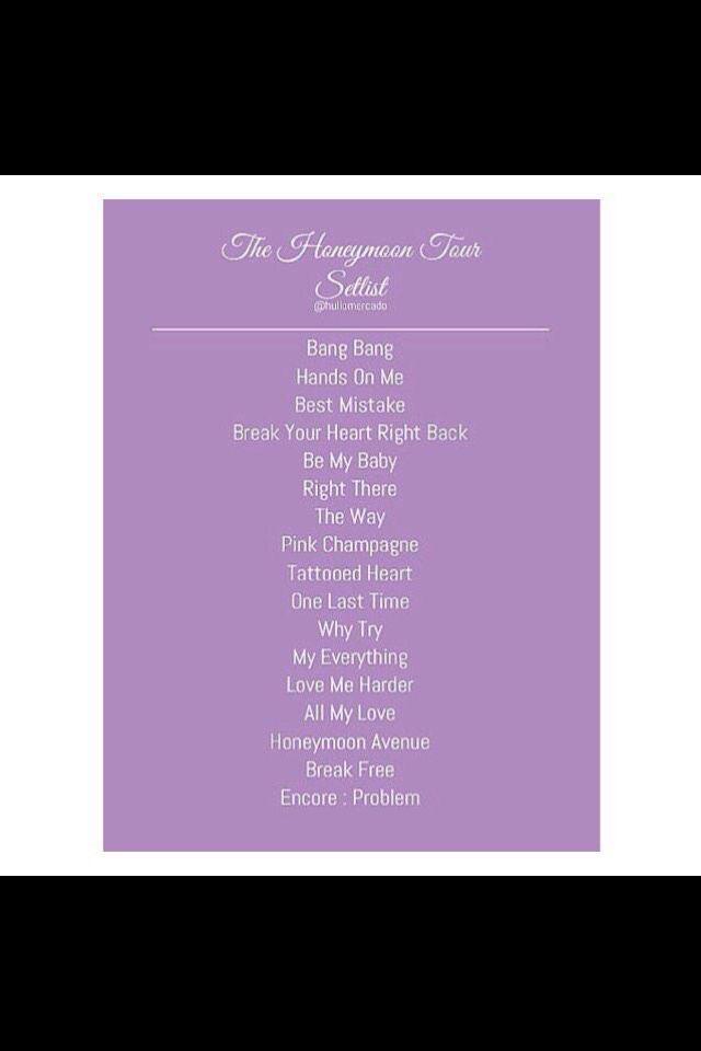 The Honeymoon Tour Setlist