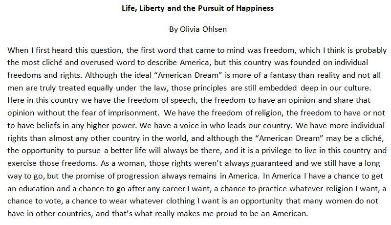 essay on what being an american means to me Being american means protection by the law anyone can say whatever they want and, even if i don't agree with them, they're still protected by the law it's my job to enforce that's their freedom.