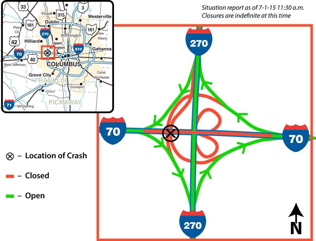 I-70 east & west still closed at I-270 on the West Side. Here's a map of what's closed & what's open. Please RT. http://t.co/FJavHX6lLI