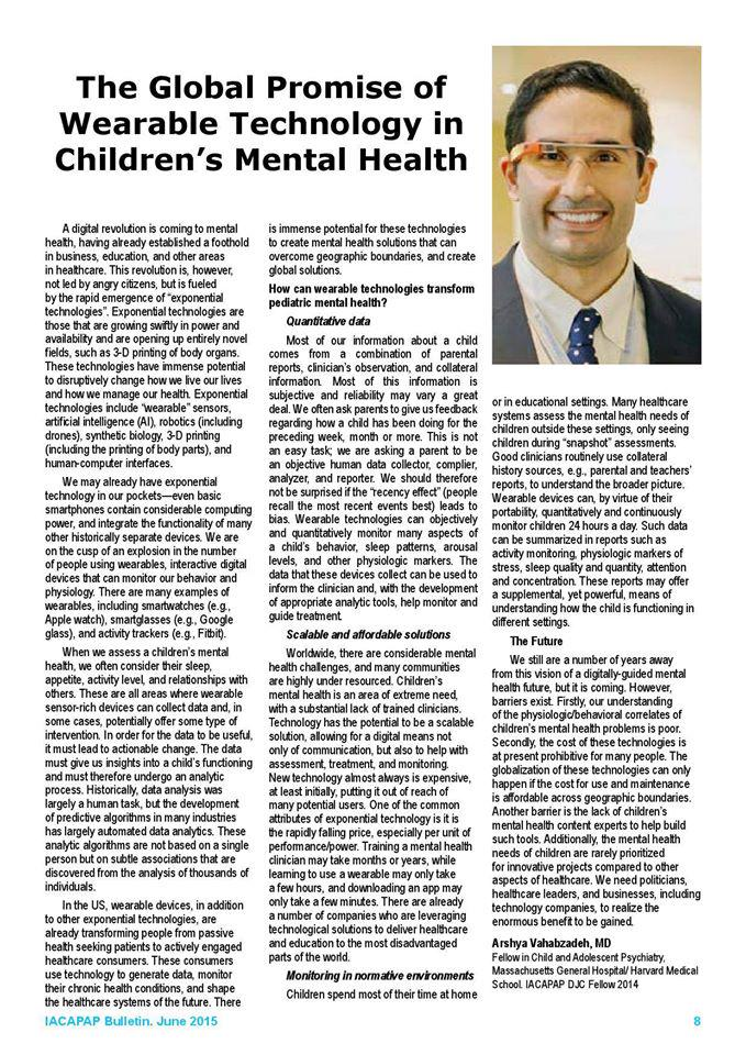 "My editorial ""The Global Promise of Wearable Technology in Children s Mental Health"" , via @IACAPAP http://t.co/gODhbVludT"