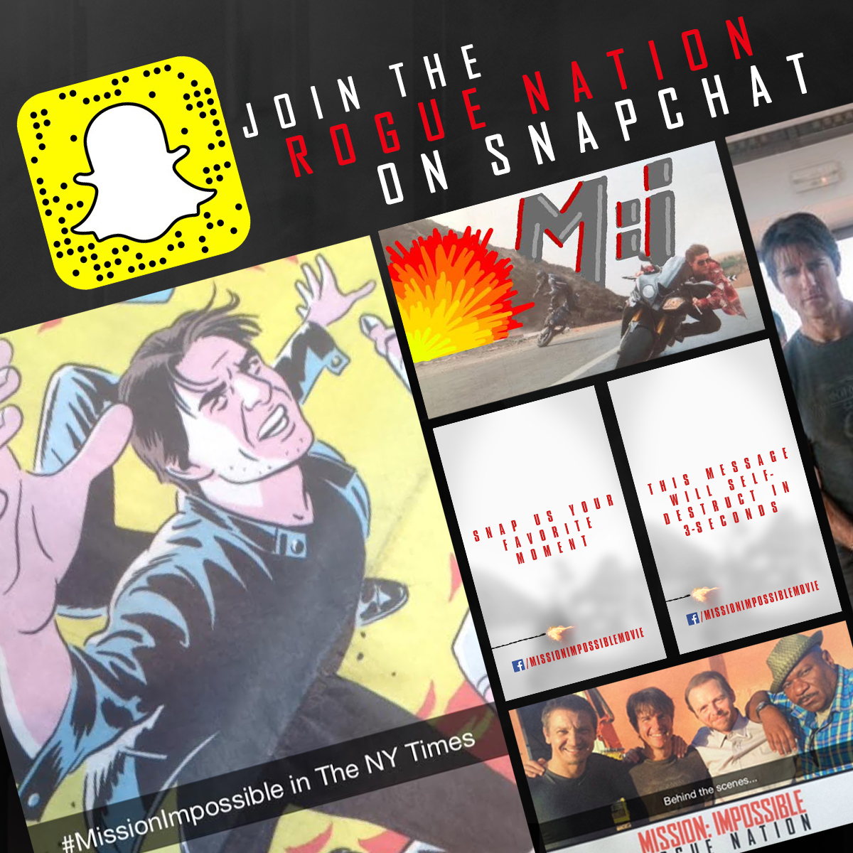 RT @MissionFilm: Follow MissionMovie on Snapchat NOW for a special message from Tom Cruise! RT http://t.co/tWIzy9wrpJ