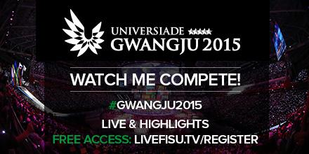 Watch all the action from #SUGwangju2015 live and FREE online. More info: http://t.co/jFLuQ2VqCC @2015Universiade http://t.co/UvyzN0i4YR