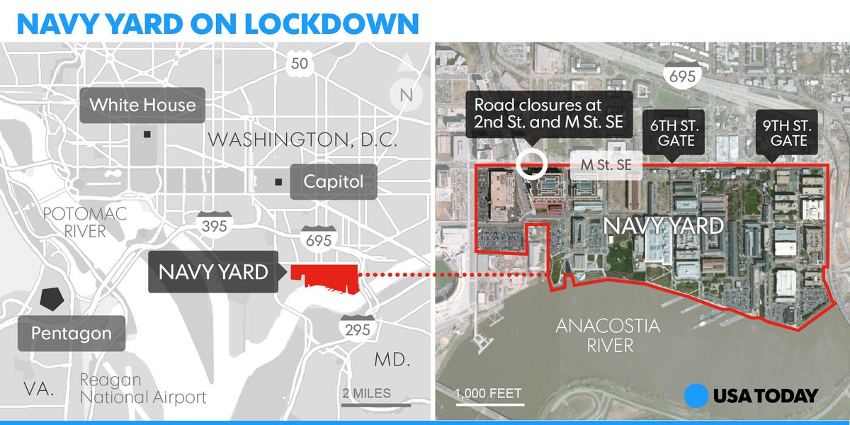 USATODAY: Here's where the Navy Yard is located in  D.C. The area is still locked down. Updates here: … http://t.co/IKb0pyVDUY
