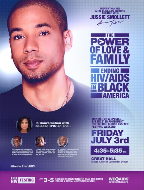 TOMORROW @ 4:35pm CT/5:35pm ET @JussieSmollett talks love, family & ending #HIV! http://t.co/y3KAmOpyaa #ESSENCEFEST http://t.co/0vrKGNQrRV