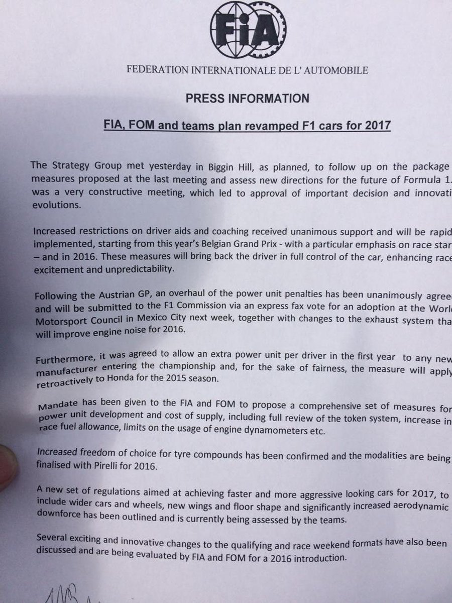 Changes ladies and gentlemen, just been handed this press release from @fia And some imminent and welcome too http://t.co/8RwD8eoTkJ