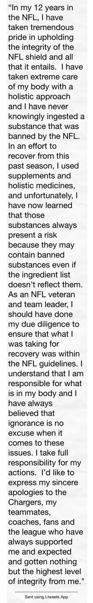 """In my 12 years in the NFL, I have taken treme #ltw http://t.co/8LoFenX5GK"