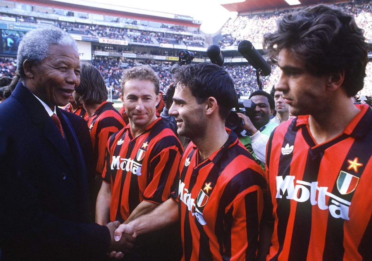 "naked football on Twitter: ""Nelson Mandela, Jean-Pierre Papin, Marco Simone  and Alessandro Costacurta, @acmilan vs Orlando Pirates, 13 June 1993  http://t.co/o9sFNqlJUR"""
