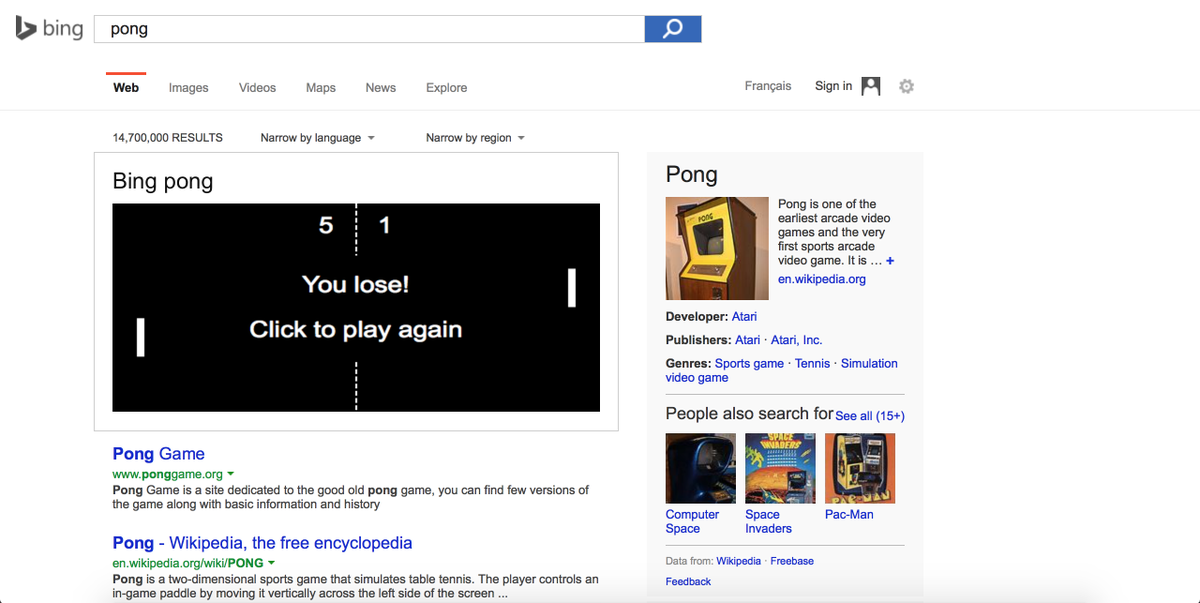 Bing Pong is probably the best thing you can do with Bing