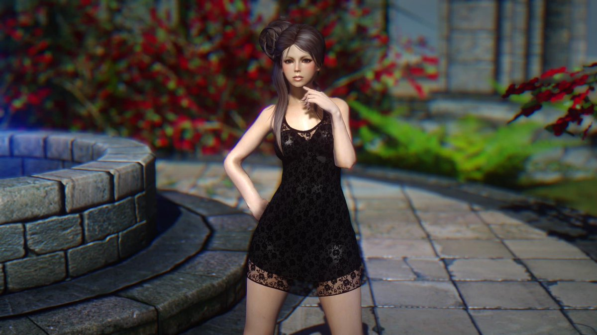 Black lace mini dress skyrim