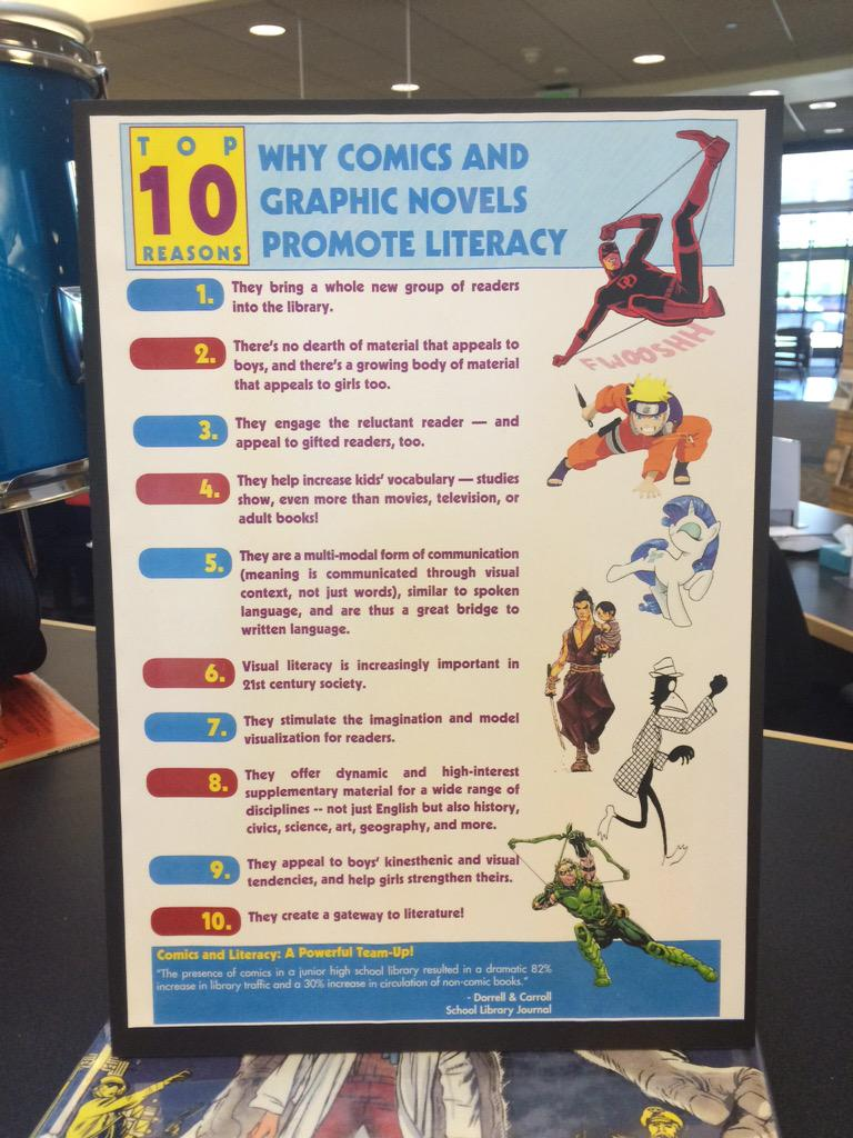 "Found this at the library... ""why graphic novels promote literacy"" #engchat #literacy http://t.co/btzc0GNzPL"