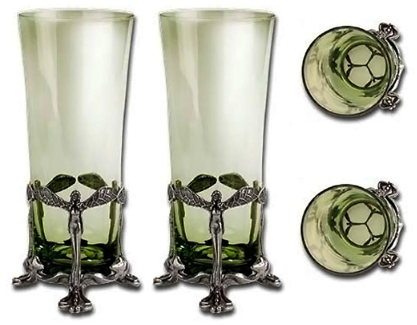 #Absinthe Awesome of the Day: Fine English Pewter & Hand-blown Forest Glass Set v/ @DomestcPlatypus #SamaCuriosities