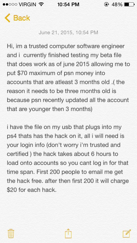 PS4 wallet hack (@Tygatweetz) | Twitter