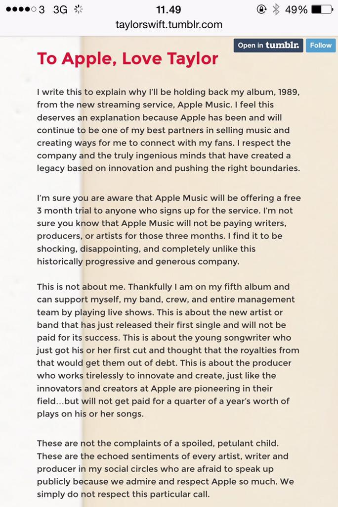Image result for taylor swift apple music letter