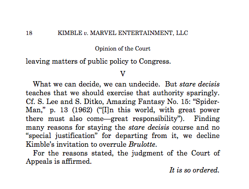 We live in the best possible timeline: Justice Kagan's decision in Kimble v. Marvel quotes Uncle Ben in closing. http://t.co/xXk9NVXsWN