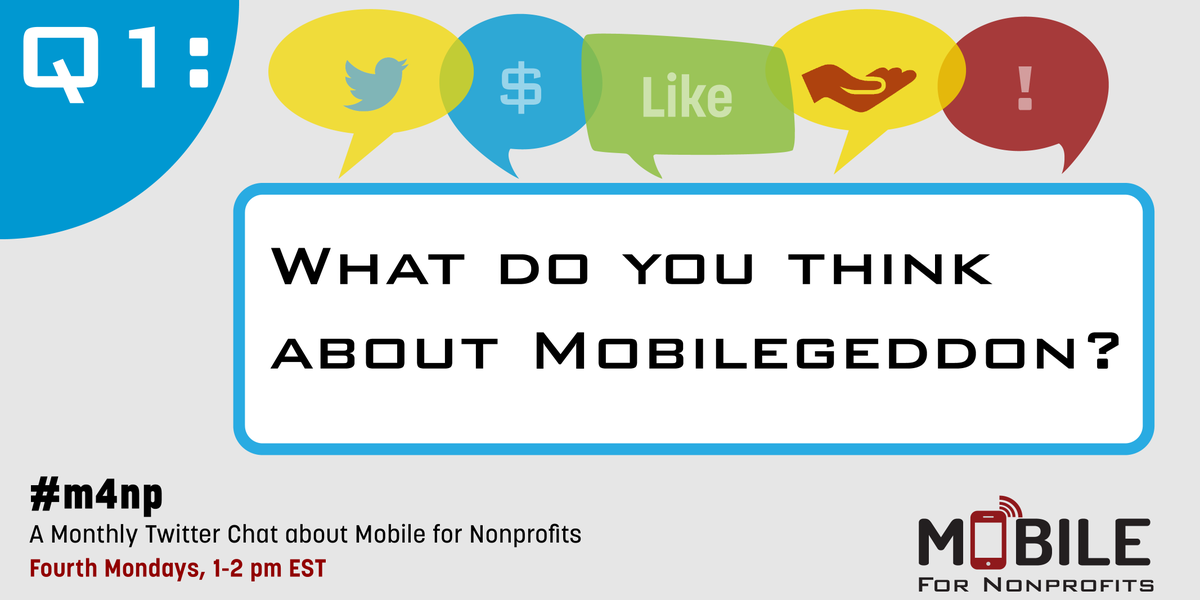 Let's get going! Q1: What do you think about Mobilegeddon? #M4NP http://t.co/YNQFvwGmFV