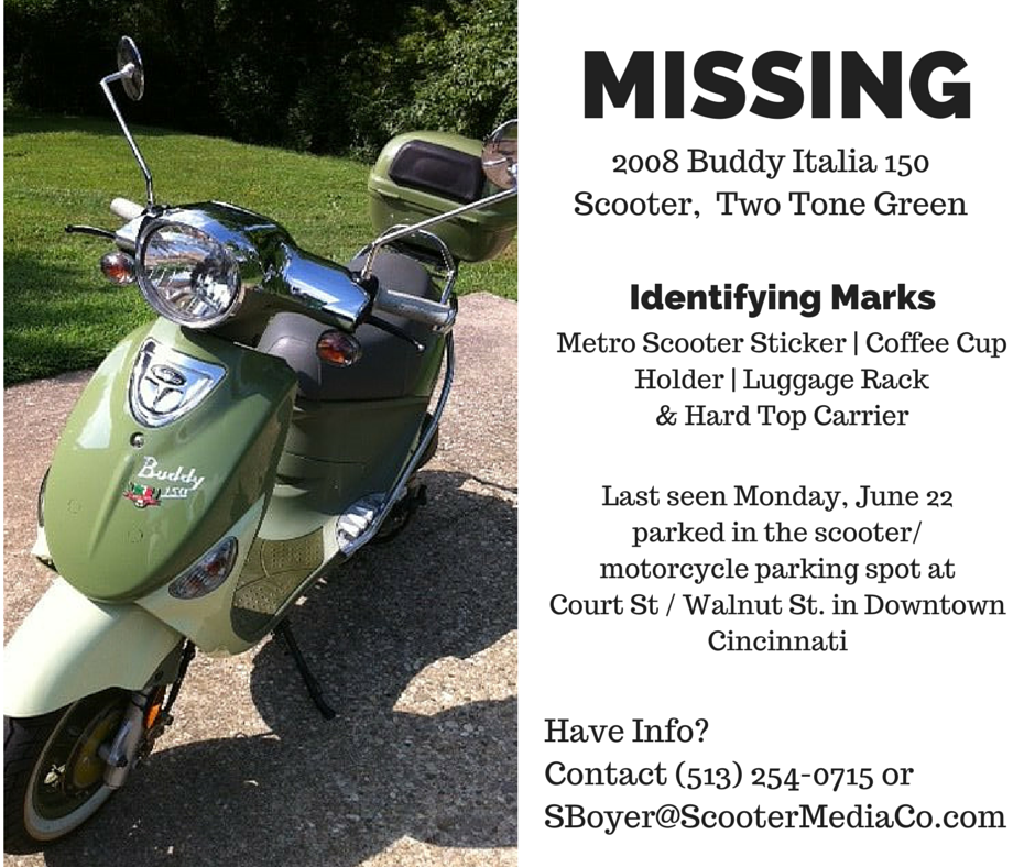 My green Buddy Italia 150 Scooter was STOLEN today. It was parked on Court/Walnut Sts. Any help appreciated: http://t.co/0nf3bdLIeR