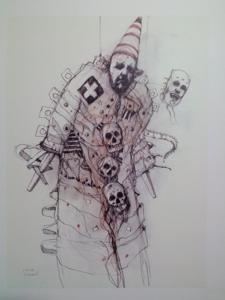 Charcoal & pastel by Tom Seacrest is 1 in a scary circus series. Tom was in his 70's when drew this goth clown. http://t.co/cOEfEvQGgj