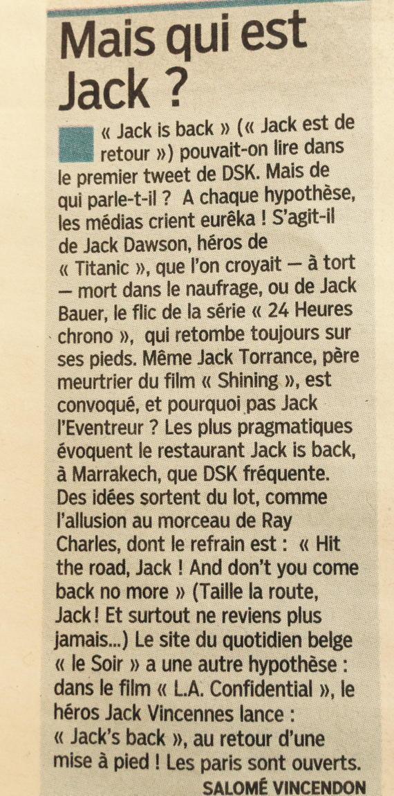 Who is Jack ? #le parisien <br>http://pic.twitter.com/PkknY6hsTZ