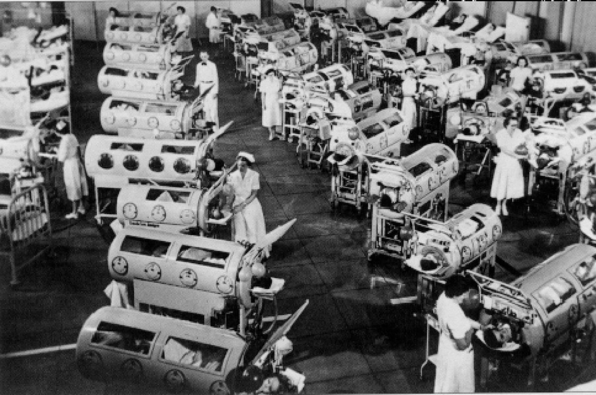 Thousands of sick persons in the '50s: hospital ward plenty of children in iron lungs because of polio #microMOOC http://t.co/eY1SHEMlNE