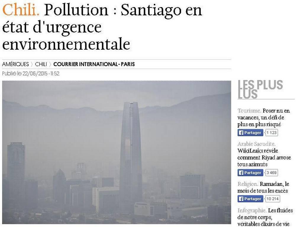 Contaminación en Chile llama la atención de la prensa extranjera. Mira las portadas →http://t.co/MSQ5udsjsR http://t.co/Jjp1rzQWIz