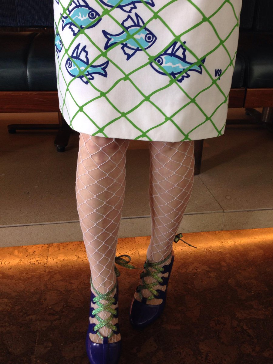 Dressed for #industrylabssw with my fish dress, fish nets and stiletto gum boots. @futureoffish @thimbleoysters http://t.co/o9vfJYmQZS