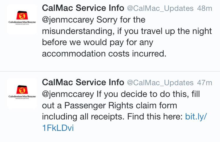Nice to see @CalMac_Updates @CalMacFerries going out of the way to help people make alternative arrangements :) http://t.co/9i6XmOAwRR