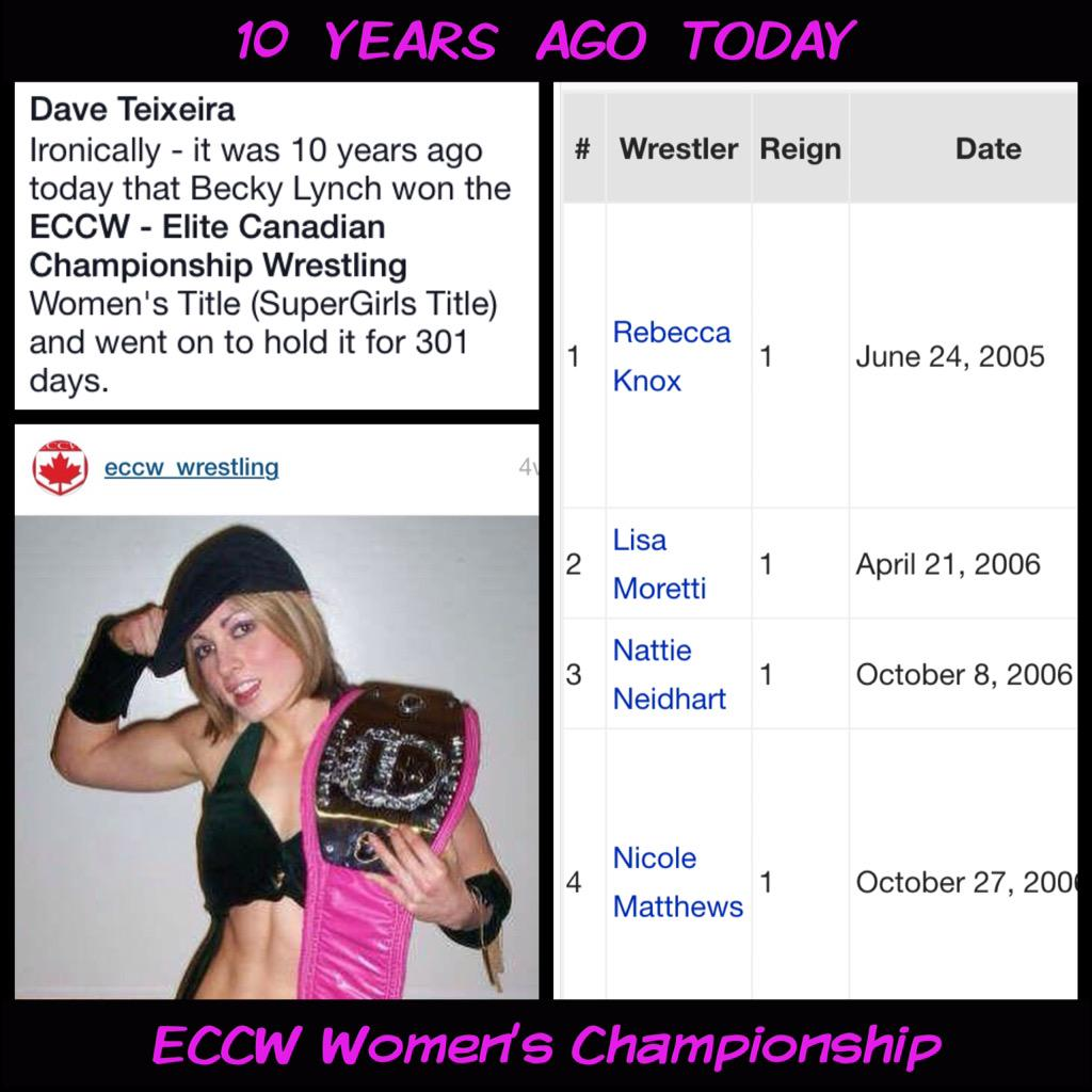 10 years ago today Rebecca Knox, NXT's @BeckyLynchWWE, won the ECCW Women's Title. #WWE #NXT She held it for 301 days http://t.co/PSZvHwblej