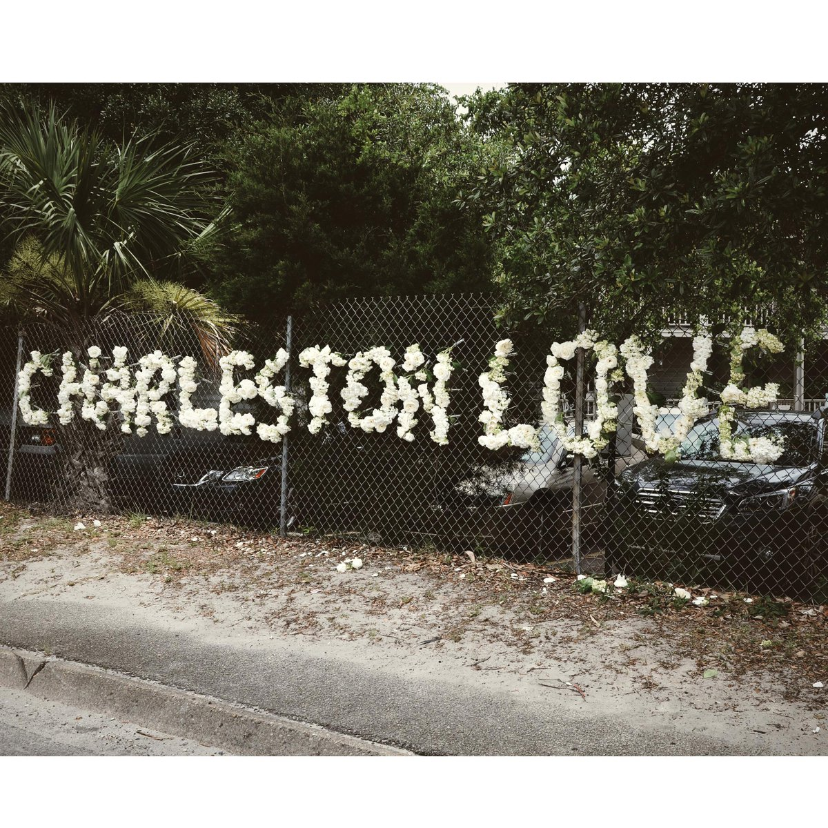 A tribute in hydrangeas on the Crosstown #charlestonlove #CharlestonStrong http://t.co/SD40V1L7Q5