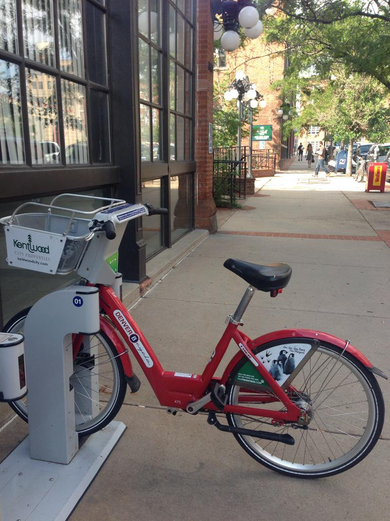 It's a beautiful morning for my first #BiketoWorkDay! Since I don't own a #🚲, I rode this trusty @Denver_Bcycle. http://t.co/TLNVRKdHuf