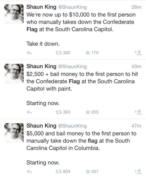 Shaun King – racial agitator offers $ to hit SC Confederate flag with paint