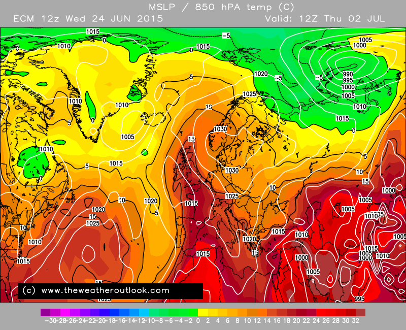 ECM again going for a massive #spanishplume next week. 30C or higher poss if it comes off. http://t.co/MmKPcVbHXh http://t.co/B2PaXU6iBB