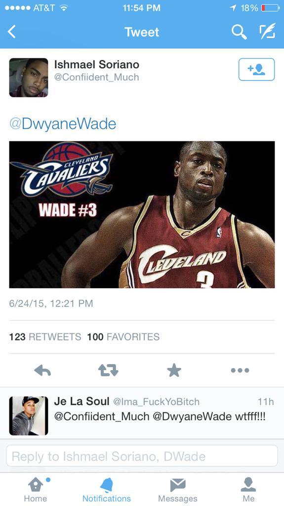 a0c904613198 Fan tweets an edit of Dwyane Wade in a Cavs jersey and then Wade follows  that fanpic.twitter.com MvGk7SDCSf