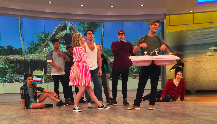 The #TeenBeach2 cast is rehearsing for @TheView today—caption this photo! #PreView