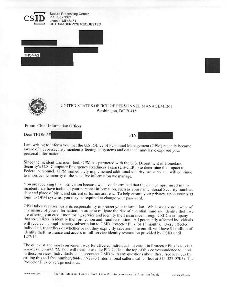 """Thomas Hoffecker on Twitter: """"Got my #OPM breach notification letter today. Scanned copy of the letter attached. #cyber #opmhack #HeckuvaJobKathy ..."""