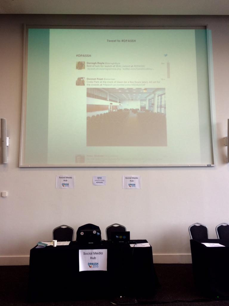 Social Media Hub at #DPASSH up 'n' hubbin' http://t.co/0XPRVMa2lw