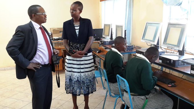 I Choose Life Africa CEO and Misyani Girls Principal during ICT for Learning roll out; in this photo dated 25/6/2015.
