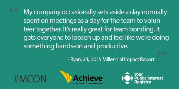 #MCON 79% of millennial employee volunteers said their involvement made a difference: http://t.co/Za1dadXDG2 http://t.co/FiIlfZ2qSb