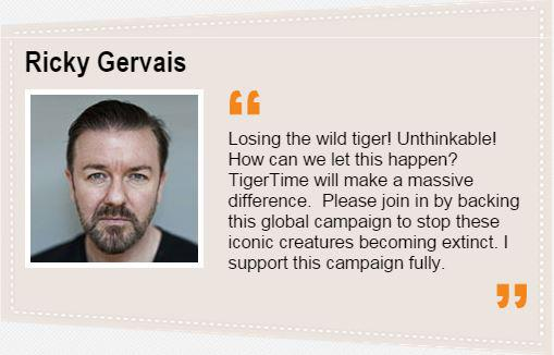 Join @rickygervais and our fight to save wild tigers. Sign up to http://t.co/4mCUzRUt5U  #kindnessismagic http://t.co/VIiTV5qau3